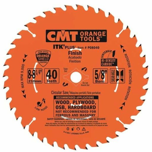 "View a Larger Image of P08040 Finish Saw Blade, 8-1/4"" x 40T x 5/8"" bore"