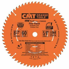 "P08060S Fine Finish on Slide/Miter Saw Blade, 8-1/2"" x 60T x 5/8"" bore"