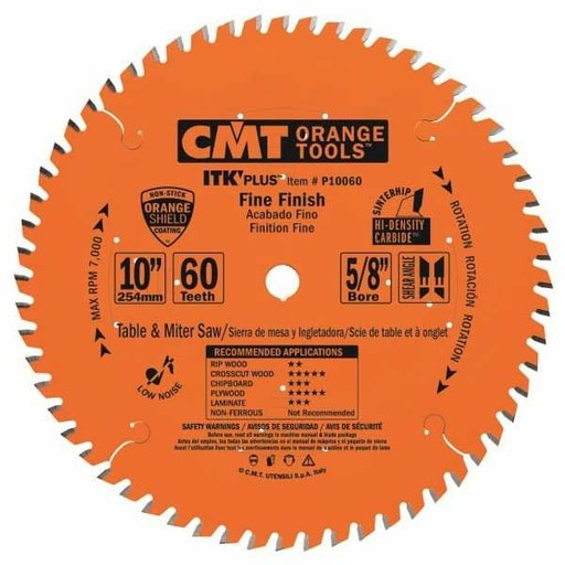 "View a Larger Image of P10060 Fine Finish Saw Blade, 10"" x 60T x 5/8"" bore"