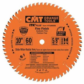 "P10060S Fine Finish on Slide/Miter Saw Blade, 10"" x 60T x 5/8"" bore"