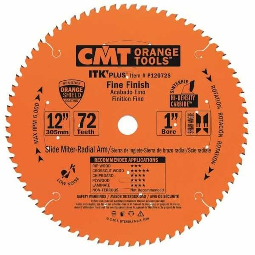 "View a Larger Image of P12072S Fine Finish on Slide/Miter Saw Blade, 12"" x 72T x 1"" bore"