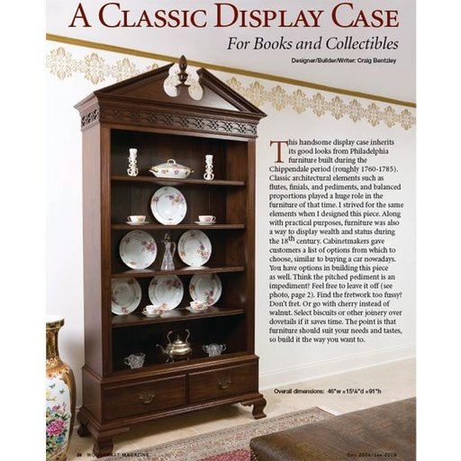 View a Larger Image of Colonial Bookcase - Downloadable Plan