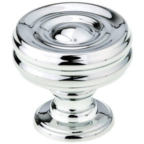 "Contemporary Knob, 1-3/8"" D, Chrome"