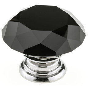 "Contemporary Knob, 2"" D, Chrome, Black"