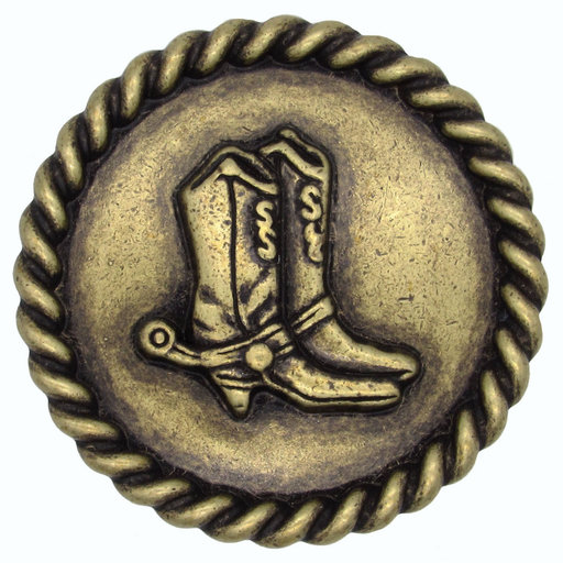 View a Larger Image of Cowboy Boots with Roped Edge Round Knob, Brass Oxide