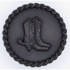 Cowboy Boots with Roped Edge Round Knob, Oil Rubbed Bronze