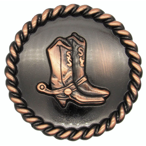 View a Larger Image of Cowboy Boots with Roped Edge Round Knob, Satin Copper Oxide