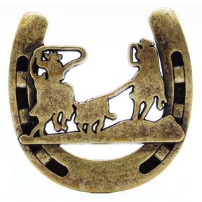 Cowboys Roping Calf Horseshoe Knob, Brass Oxide