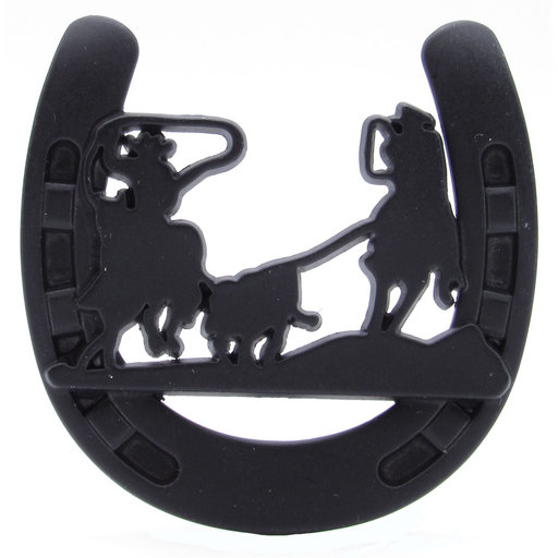 View a Larger Image of Cowboys Roping Calf Horseshoe Knob, Matte Black