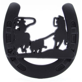Cowboys Roping Calf Horseshoe Knob, Matte Black
