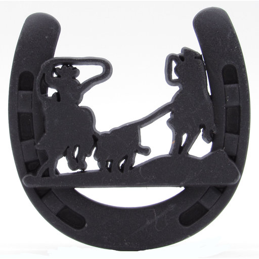 View a Larger Image of Cowboys Roping Calf Horseshoe Knob, Oil Rubbed Bronze