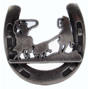 Cowboys Roping Calf Horseshoe Knob, Old Silver