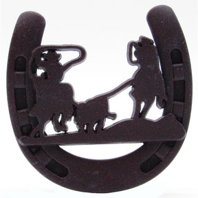 Cowboys Roping Calf Horseshoe Knob, Rust Brown