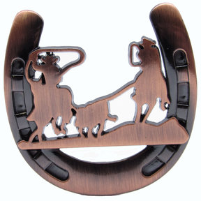 Cowboys Roping Calf Horseshoe Knob, Satin Copper Oxide
