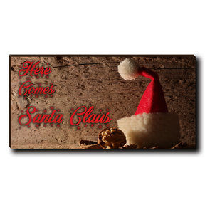 "Cutting Board Here Comes Santa Red Text 12"" x 6"""