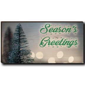 "Cutting Board Season's Greetings Tree 2 12"" x 6"""
