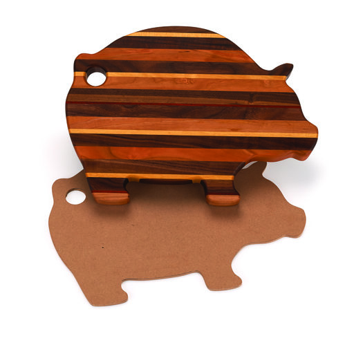 "View a Larger Image of Cutting Board Template - Pig Shape 15"" x 11"""