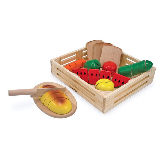 View a Larger Image of Cutting Food - Play Food Set With 25+ Hand-Painted Wooden Pieces, Knife, and Cutting Board