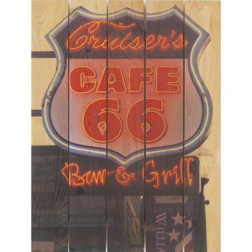 View a Larger Image of Cafe 66 16x24 Wood Art