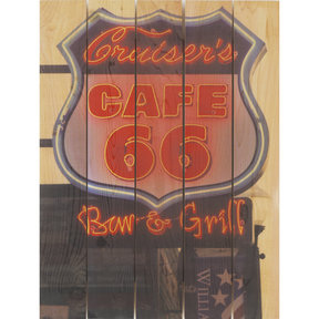 Cafe 66 16x24 Wood Art