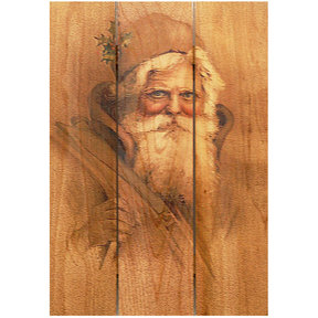 "Daydream Gizaun Cedar Wall Art, Father Christmas, 16"" x 24"""