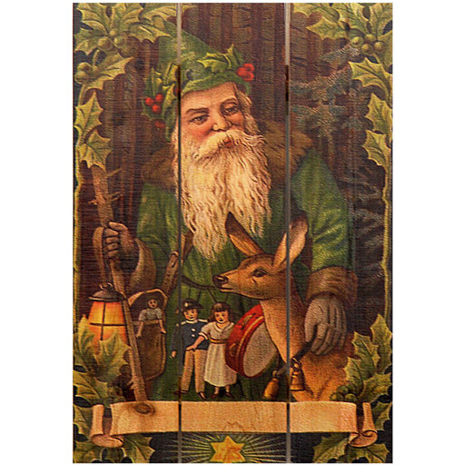 View a Larger Image of Forest Santa 16x24 Wood Art