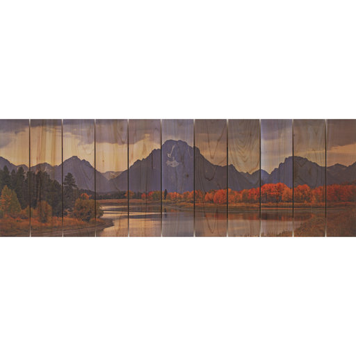 "View a Larger Image of Daydream Gizaun Cedar Wall Art, Mountain Paradise, 32"" x 11"""