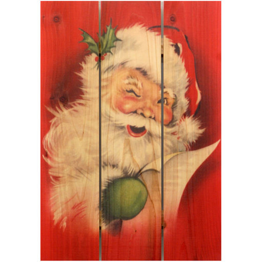 View a Larger Image of Red Santa 16x24 Wood Art