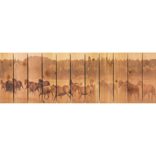 View a Larger Image of Wild Horses 62x20 Wood Art
