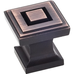"Delmar Knob 1"" O.L., Brushed Oil Rubbed Bronze"