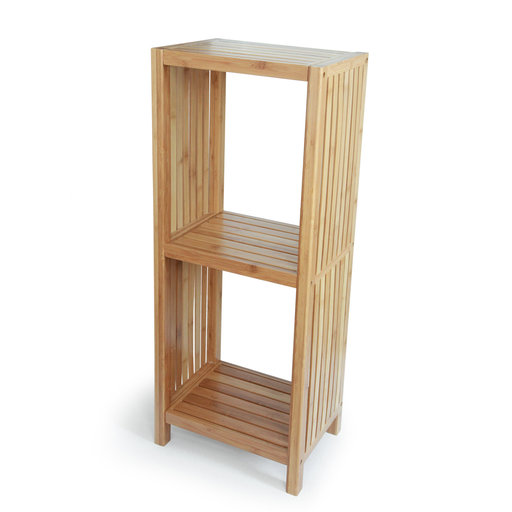 View a Larger Image of Deluxe Bamboo Freestanding Bathroom Organizing Shelf, 3-Tier Shelf