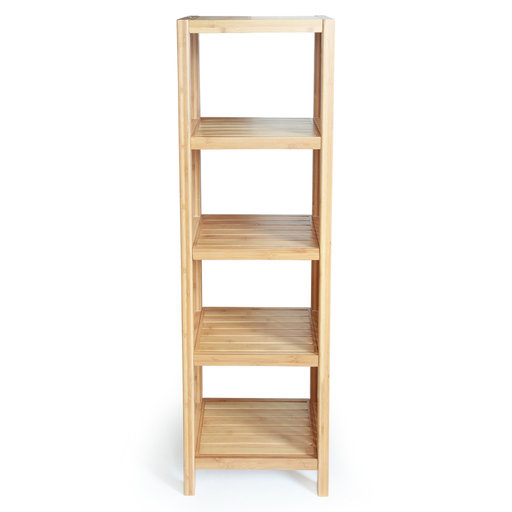 View a Larger Image of Deluxe Bamboo Freestanding Bathroom Organizing Shelf, 5-Tier Shelf