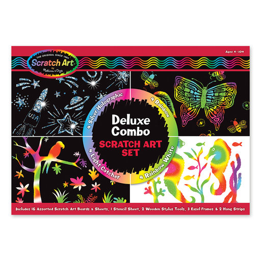 View a Larger Image of Deluxe Combo Scratch Art Set 16 Boards, 2 Stylus Tools, 3 Frames