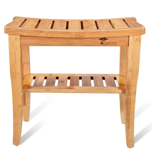 View a Larger Image of Deluxe Wooden Bamboo Shower Seat Bench with Underneath Storage Shelf (Seat with Squeegee)