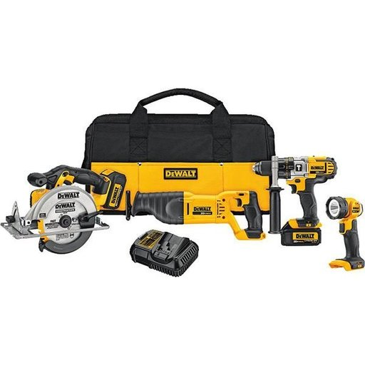 View a Larger Image of 20V MAX Lithium Ion 4-Tool Combo Kit (3.0 Ah), Model DCK491L2