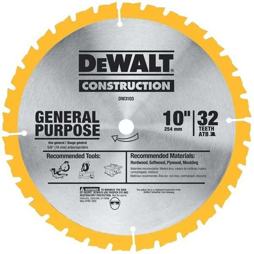"View a Larger Image of DW3103 Circular Saw Blade 10"" x 32 Tooth"