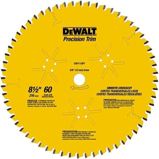 "View a Larger Image of DW7118PT Precision Trim Saw Blade 8-1/2"" x 60 Tooth"
