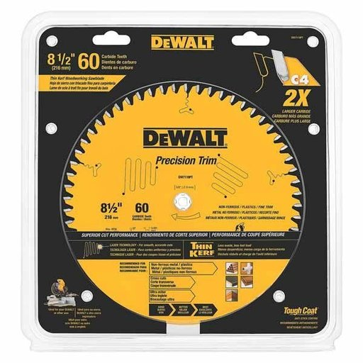"View a Larger Image of DW7119PT Precision Trim Non-Ferrous Circular Saw Blade 8-1/2"" x 60 Tooth"