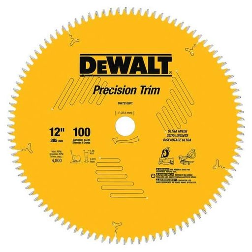 "View a Larger Image of DW72100PT Precision Trim Circular Saw Miter Saw Blade 12"" x 100 Tooth"