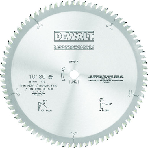 View a Larger Image of DW7647 10-Inch 80 Tooth Premium Woodworking Saw Blade