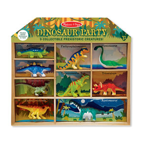 Dinosaur Party Play Set - 9 Collectible Miniature Dinosaurs in a Case