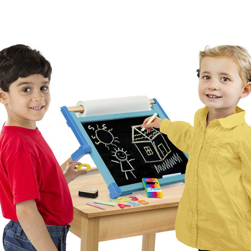 View a Larger Image of Double-Sided Magnetic Tabletop Art Easel - Dry-Erase Board and Chalkboard