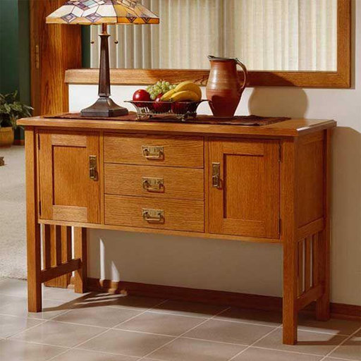 View a Larger Image of Downloadable Woodworking Project Plan to Build Arts and Crafts Buffet