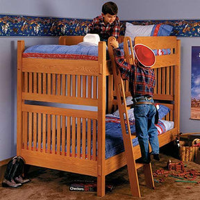 Downloadable Woodworking Project Plan to Build Arts and Crafts Bunk Bed
