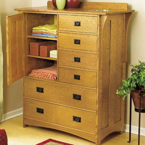 Downloadable Woodworking Project Plan to Build Arts and Crafts Dresser
