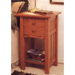 Downloadable Woodworking Project Plan to Build Arts and Crafts End Table/Nightstand