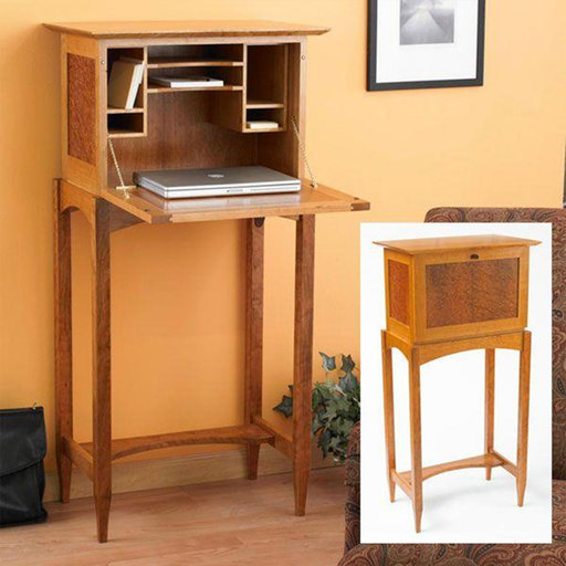 View a Larger Image of Downloadable Woodworking Project Plan to Build Drop Front Desk