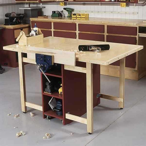 View a Larger Image of Downloadable Woodworking Project Plan to Build Drop-Leaf Workbench