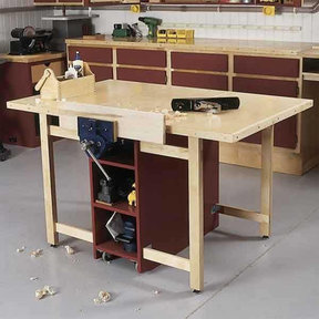 Downloadable Woodworking Project Plan to Build Drop-Leaf Workbench