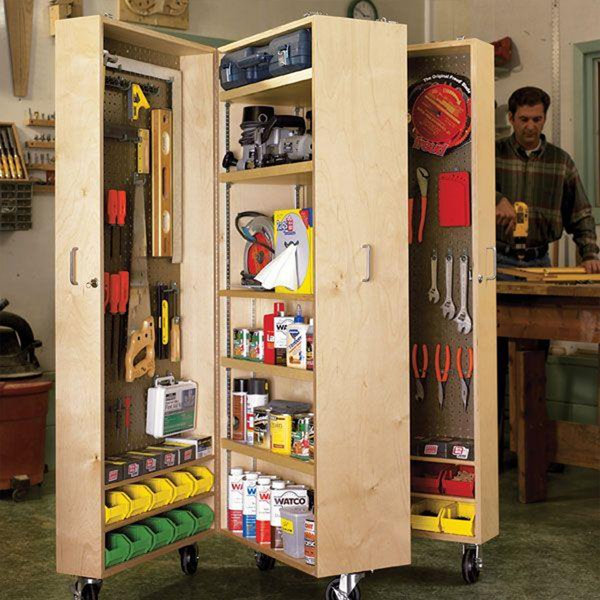Downloadable woodworking project plan to build mobile tool for Armoire de jardin castorama